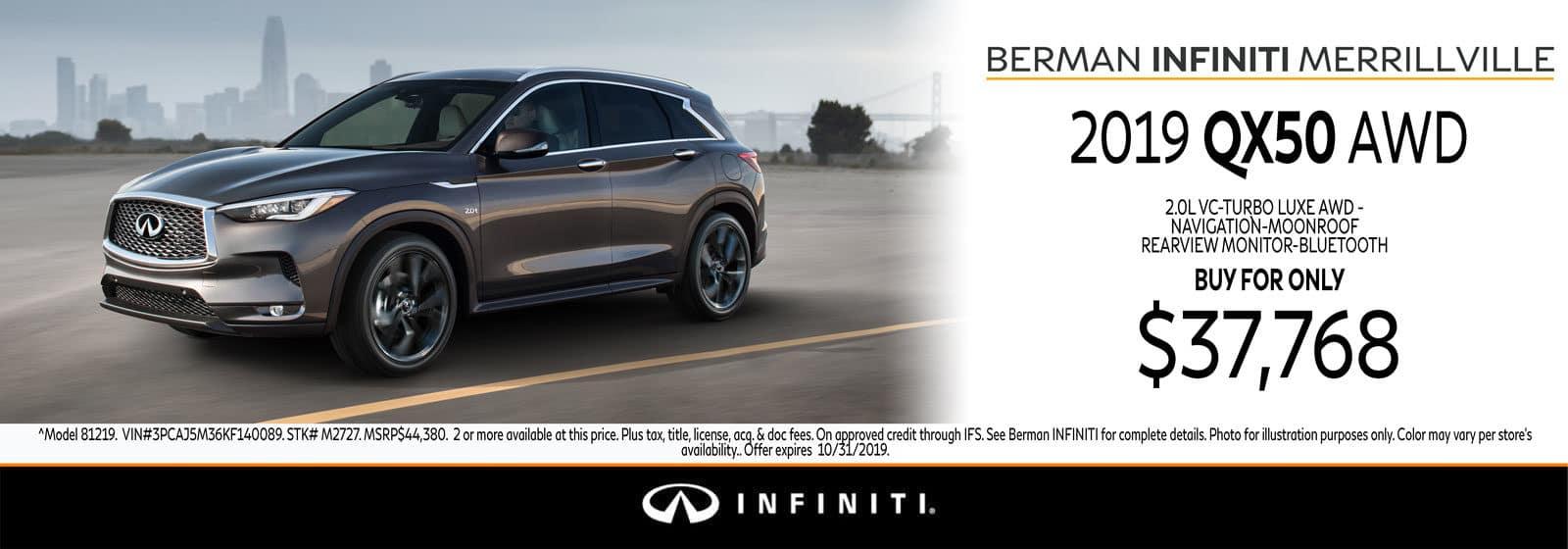 New 2019 INFINITI QX50 October Offer at Berman INFINITI of Merrillville!
