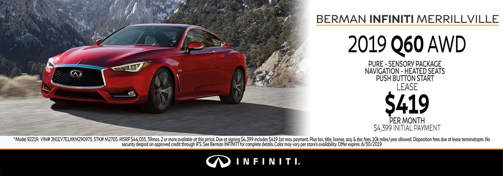 New 2019 INFINITI Q60 June Offer at Berman INFINITI of Merrillville!