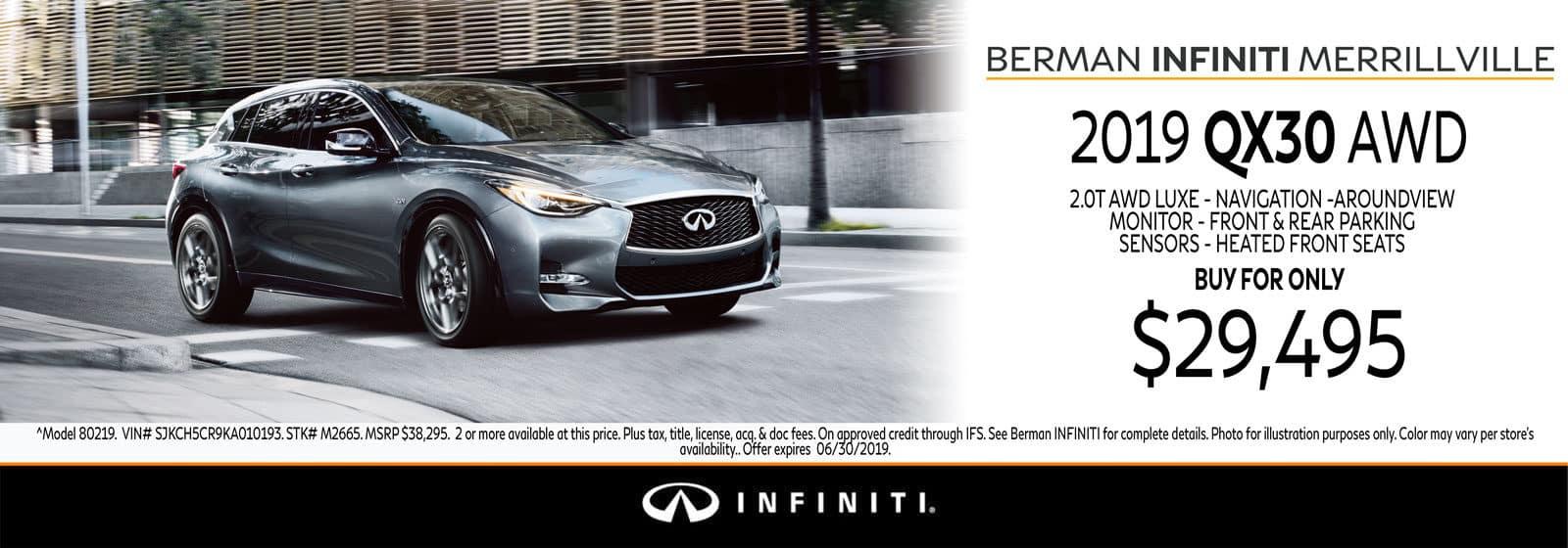 New 2019 INFINITI QX30 June Offer at Berman INFINITI of Merrillville!