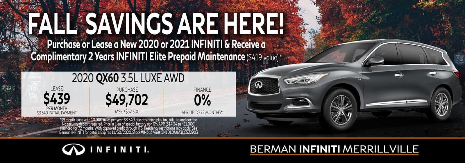 New 2020 INFINITI QX60 November Offer at Berman INFINITI of Merrillville!