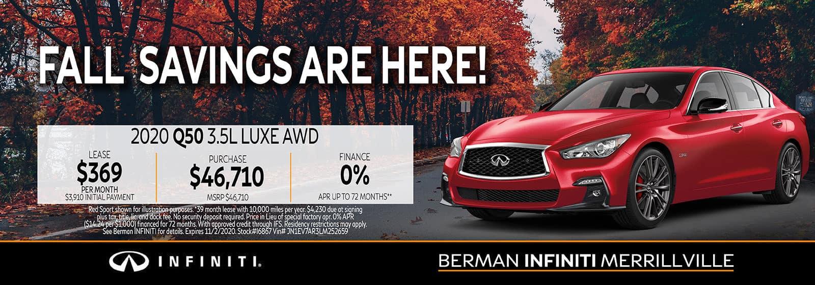 New 2020 INFINITI Q50 October Offer at Berman INFINITI of Merrillville!
