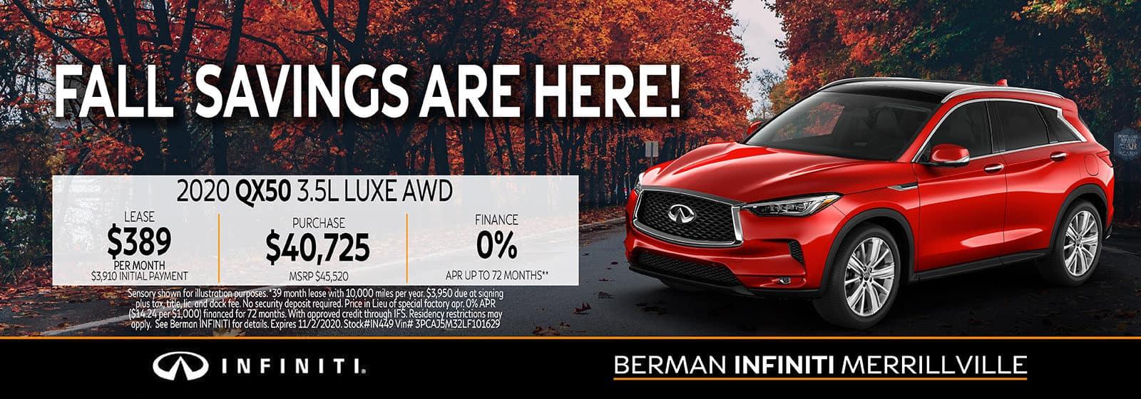 New 2020 INFINITI QX50 October Offer at Berman INFINITI of Merrillville!