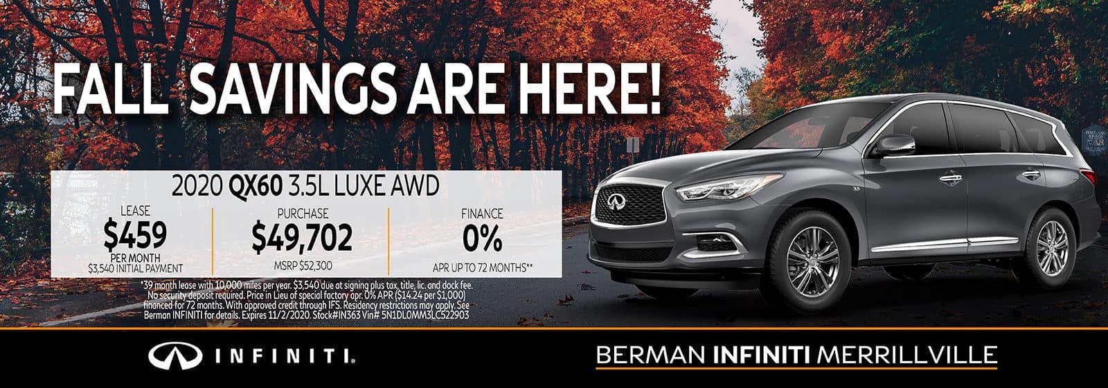 New 2020 INFINITI QX60 October Offer at Berman INFINITI of Merrillville!