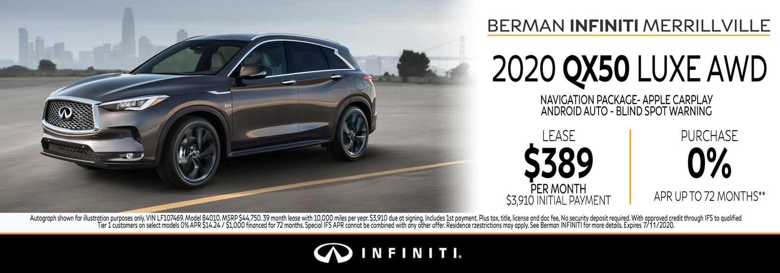 New 2020 INFINITI QX50 July Offer at Berman INFINITI of Merrillville!