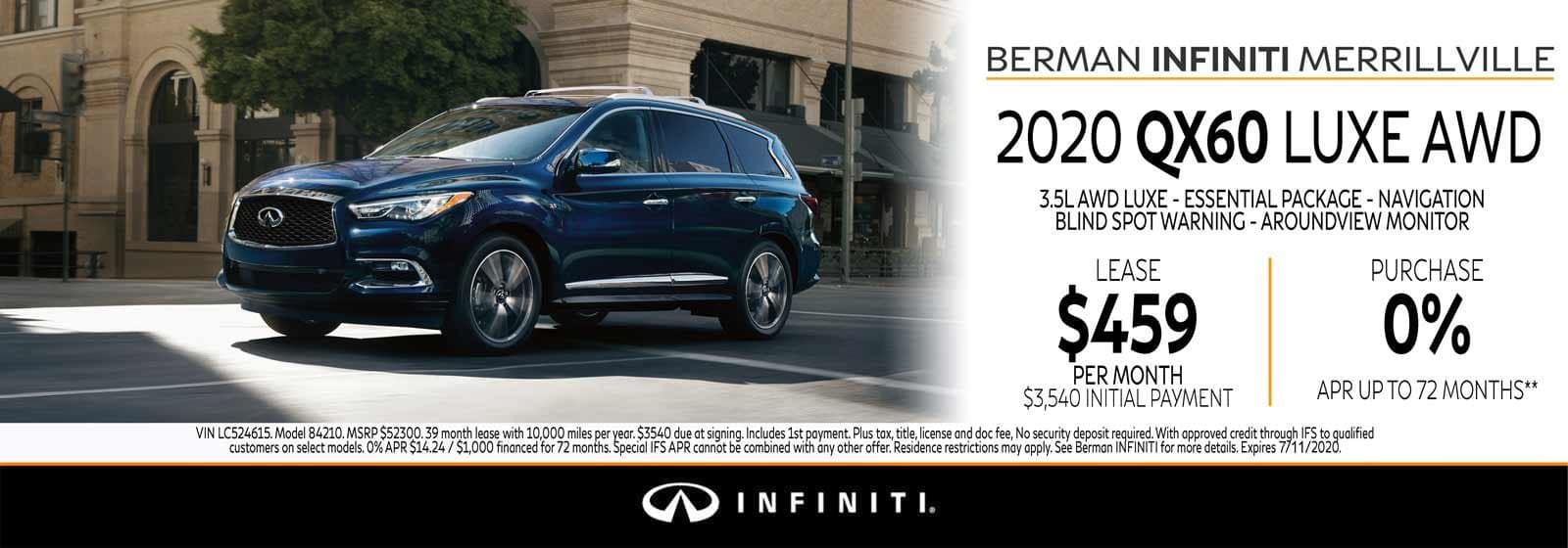 New 2020 INFINITI QX60 July Offer at Berman INFINITI of Merrillville!