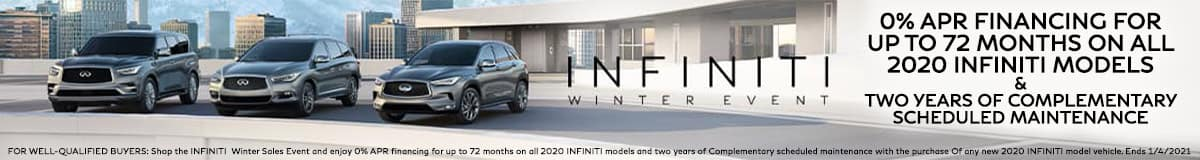 Get 0% APR Financing up to 72 Months and Two Years Complimentary Scheduled Maintenance on ALL 2020 INFINITI Models during the INFINITI Winter Event
