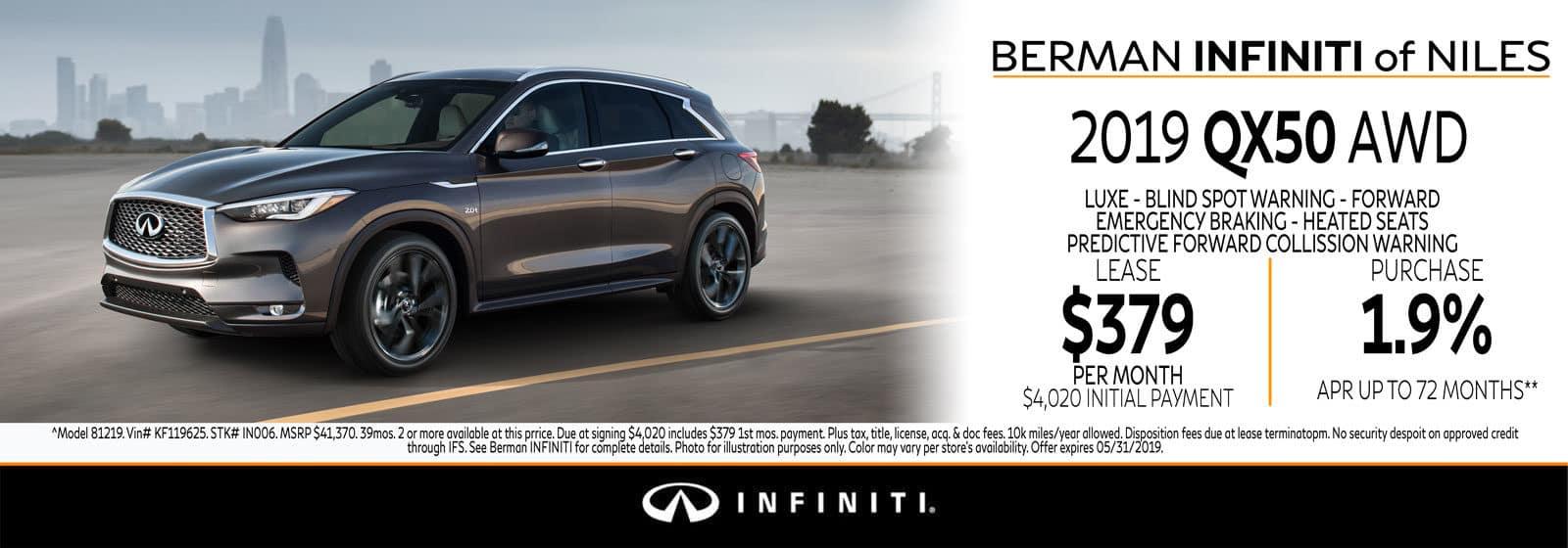 New 2019 INFINITI QX50 May Offer at Berman INFINITI of Niles