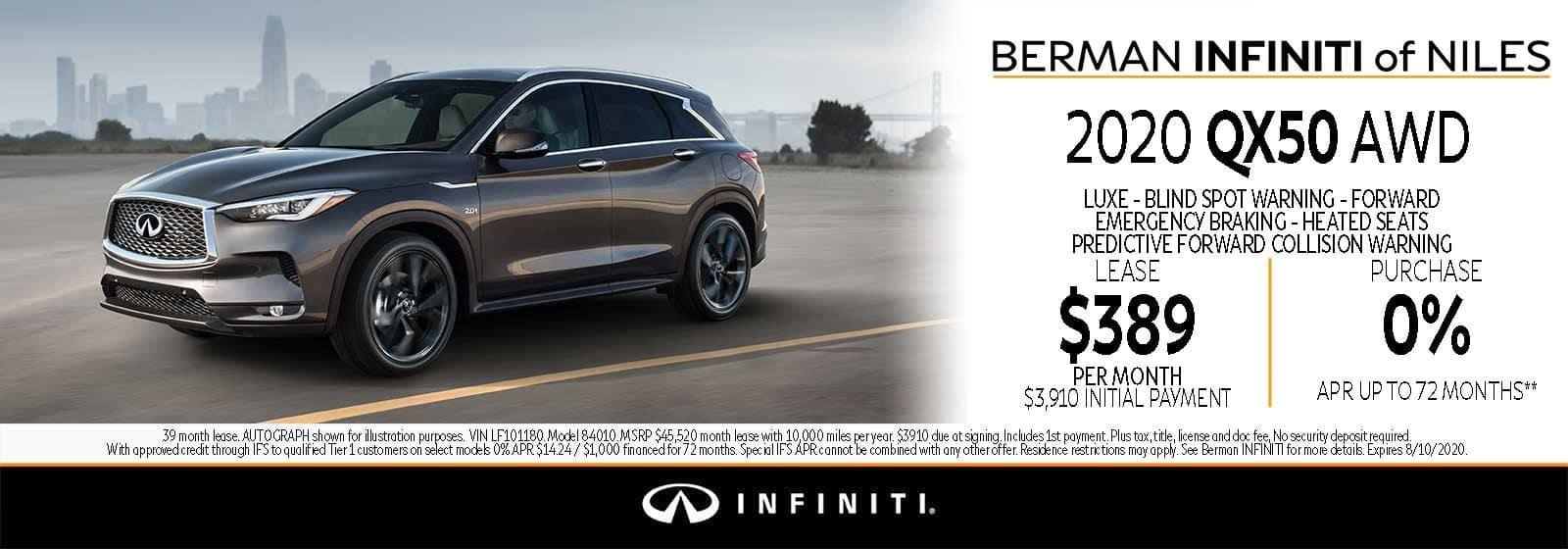 New 2020 INFINITI QX50 August Offer at Berman INFINITI of Niles!