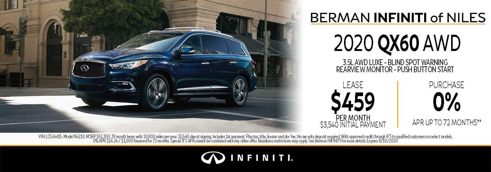 New 2020 INFINITI QX60 August Offer at Berman INFINITI of Niles!