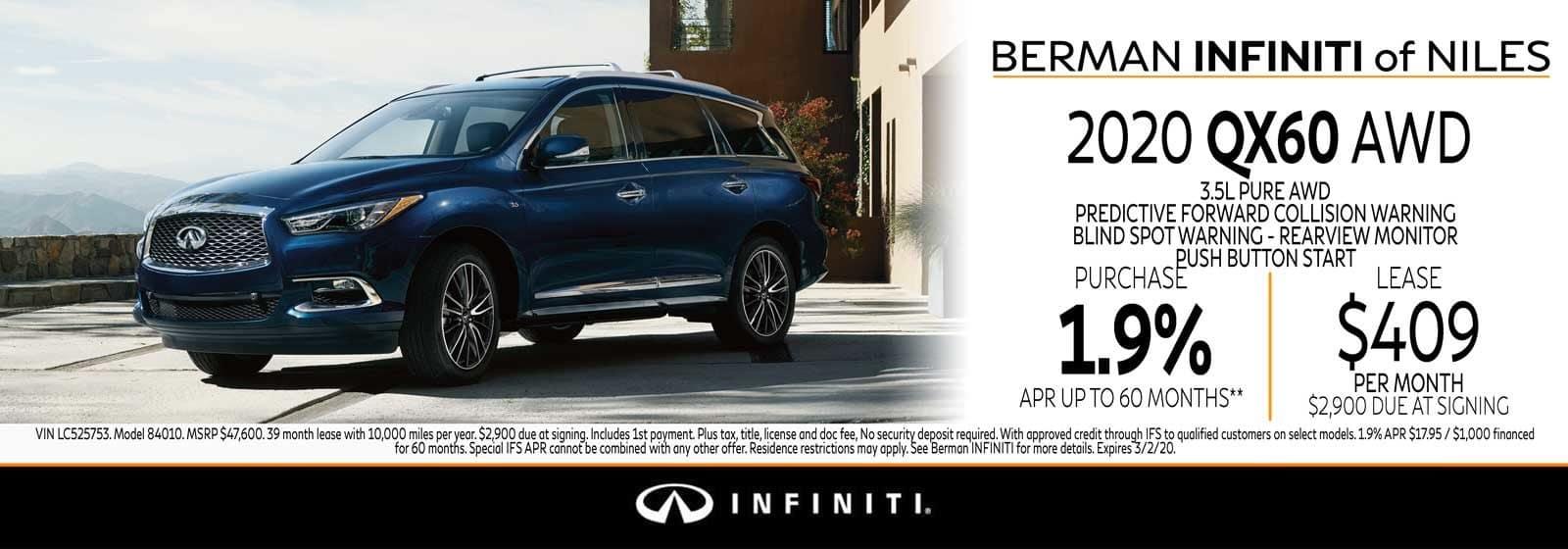 New 2020 INFINITI QX60 February Offer at Berman INFINITI of Niles!