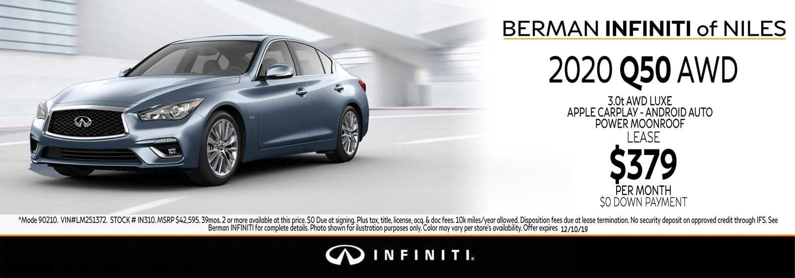 New 2020 INFINITI Q50 November Offer at Berman INFINITI of Niles!