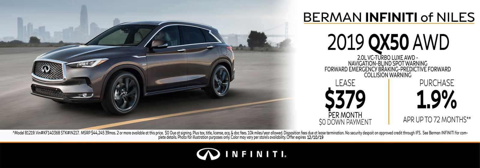 New 2019 INFINITI QX50 November Offer at Berman INFINITI of Niles!