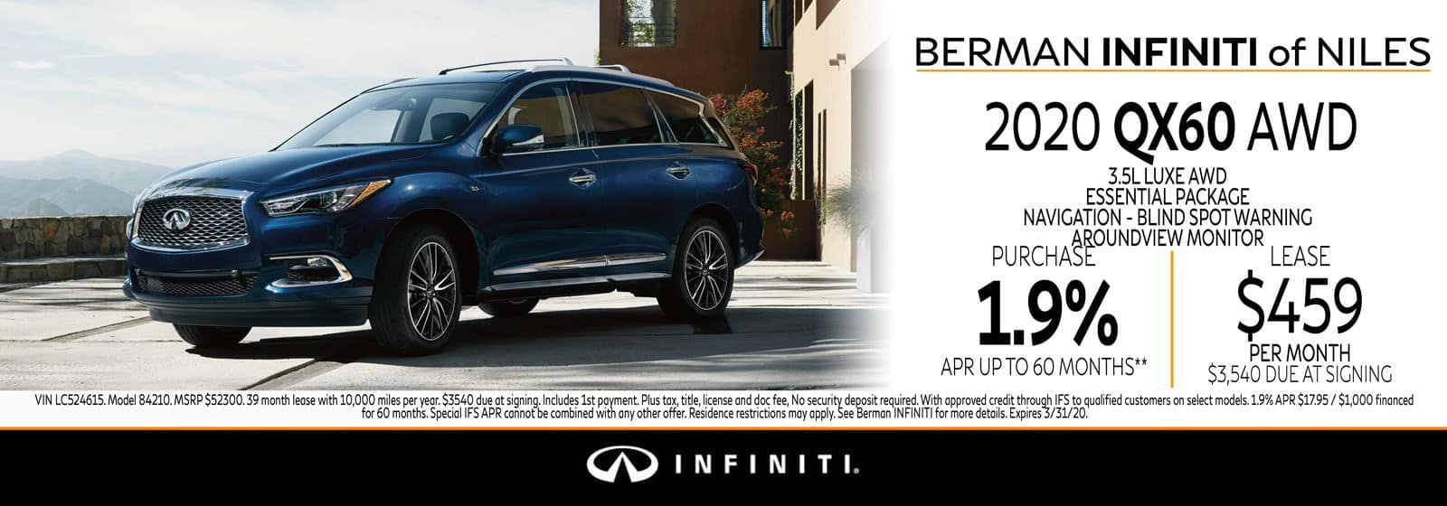 New 2020 INFINITI QX60 March Offer at Berman INFINITI of Niles!