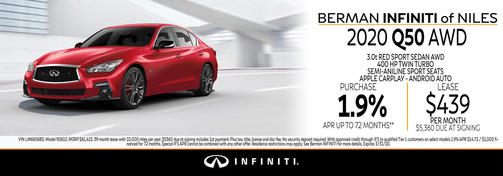 New 2020 INFINITI Q50 March Offer at Berman INFINITI of Niles!