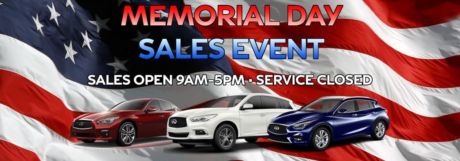 Memorial Day Sales Event Hours at Berman INFINITI of Niles!