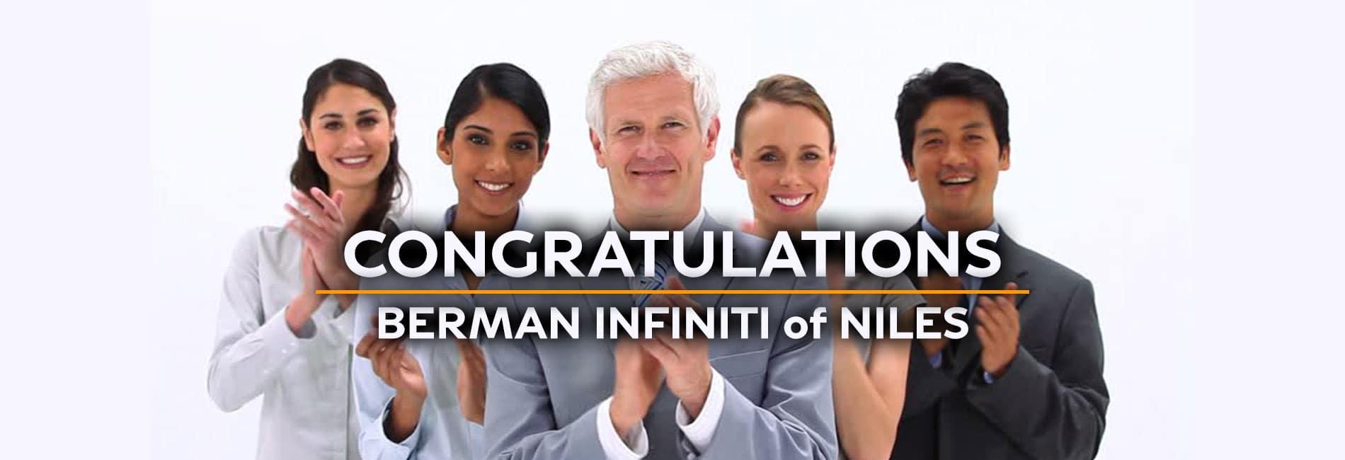 Congratulations from Berman INFINITI of Niles