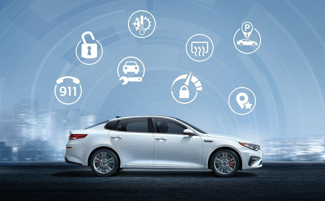 2019 Kia Optima in white with UVO features