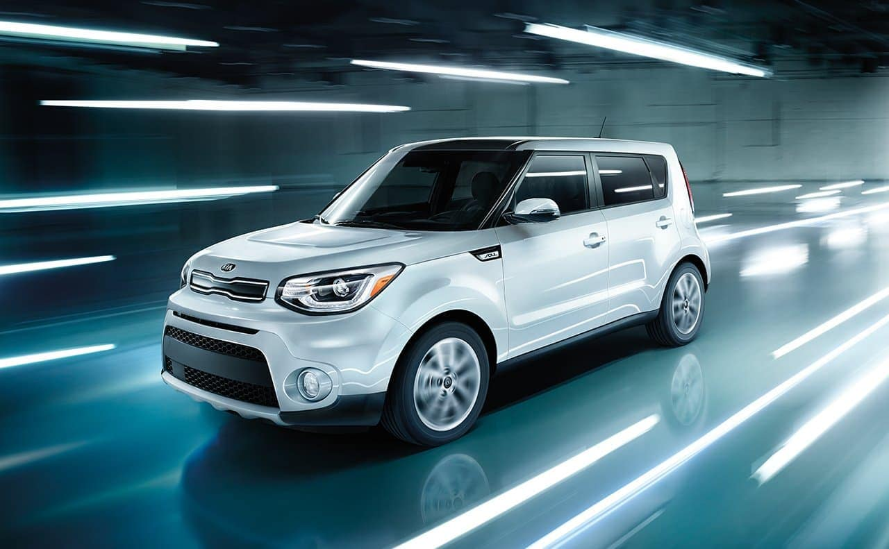 2019 Kia Soul driving in lighted tunnel