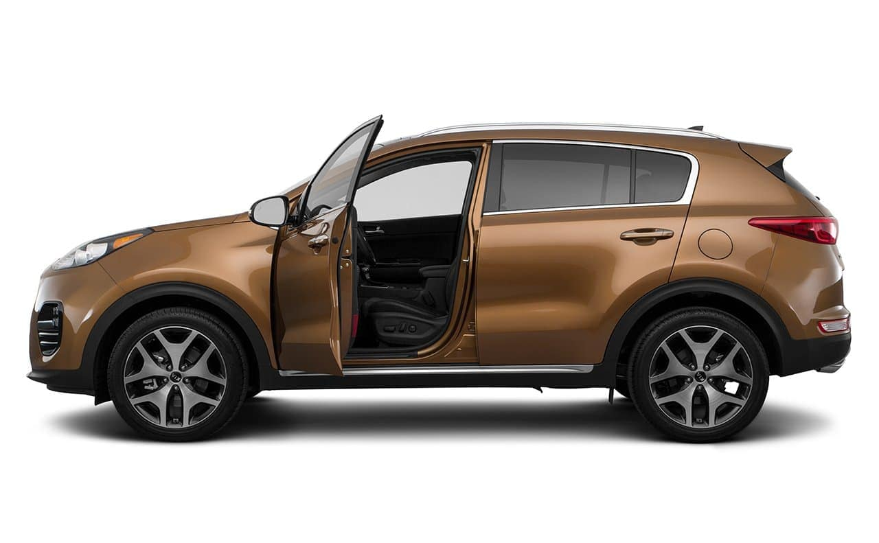 2019 Kia Sportage in caramel with driver door open