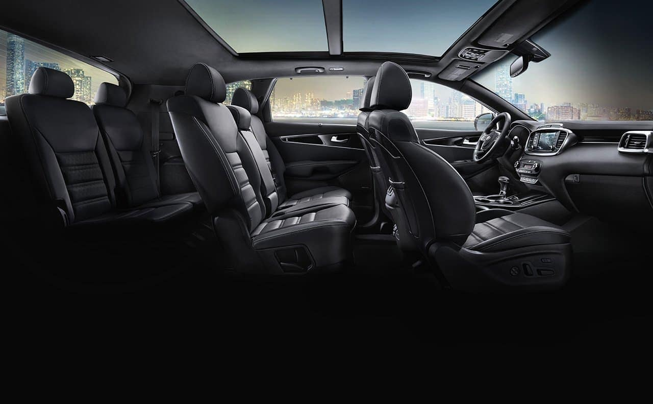 2019 Kia Sorento interior in black leather