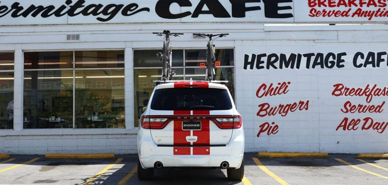 dodge durango srt with red stripes outside hermitage cafe