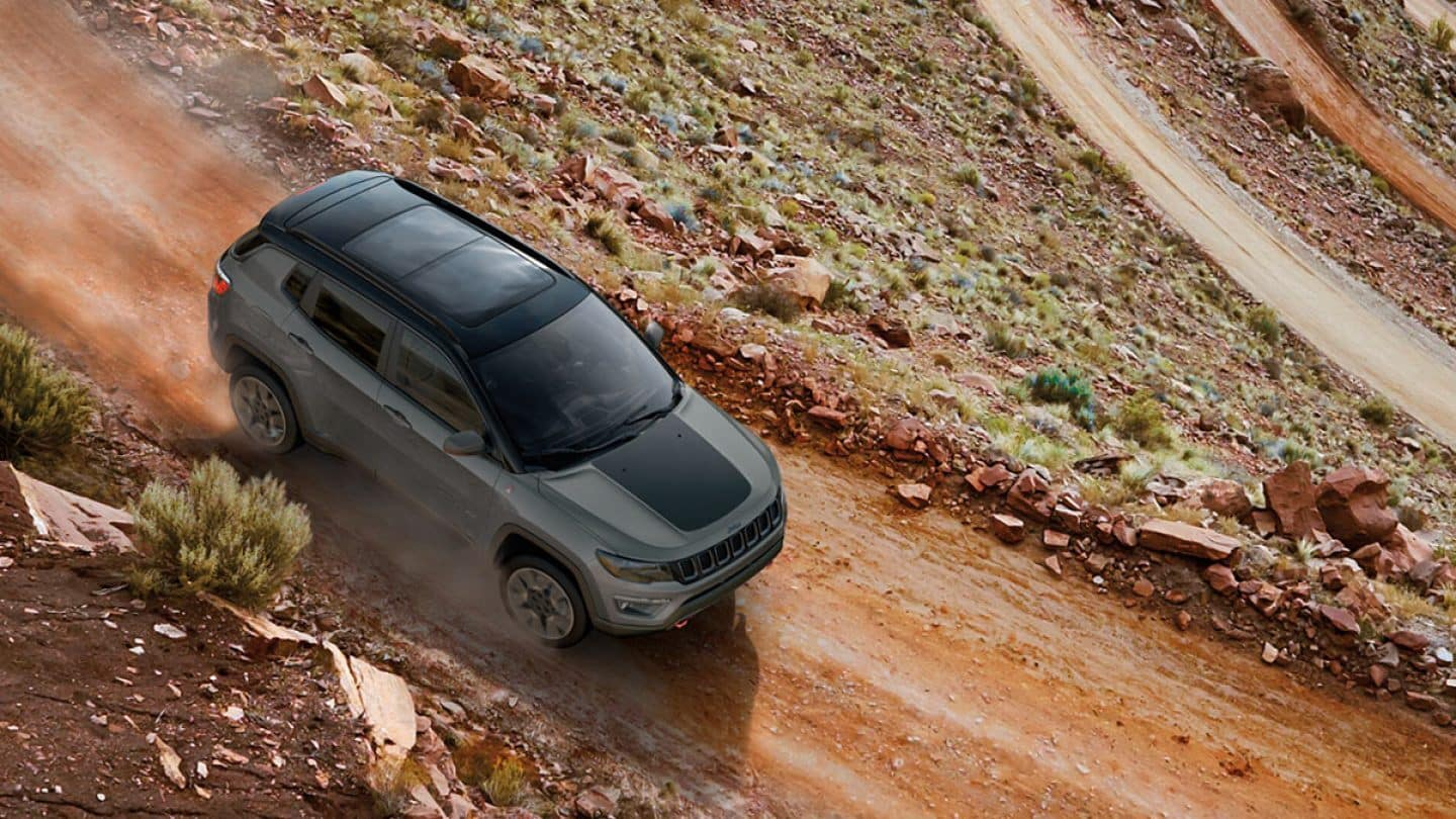 jeep compass riding on trail
