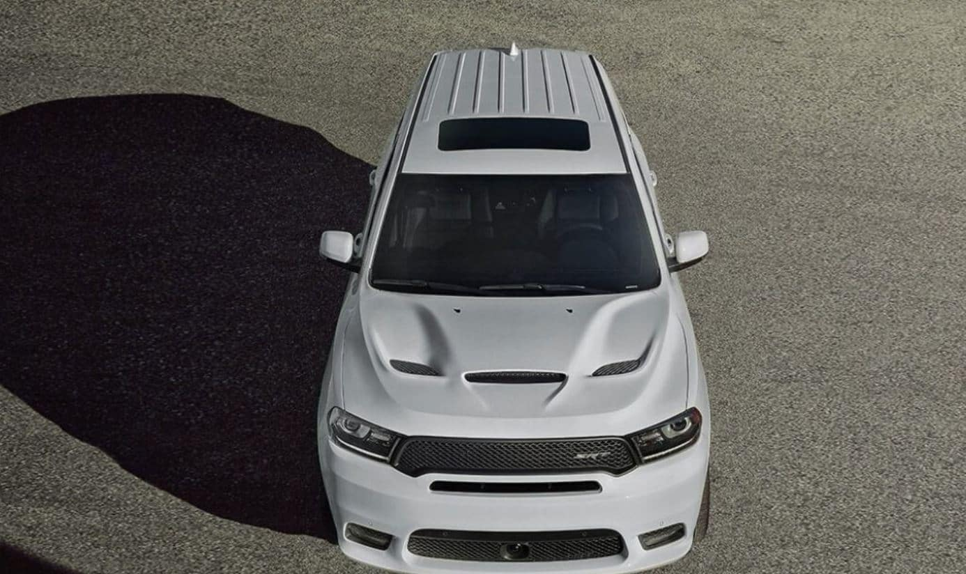 white dodge durango srt from an aerial view