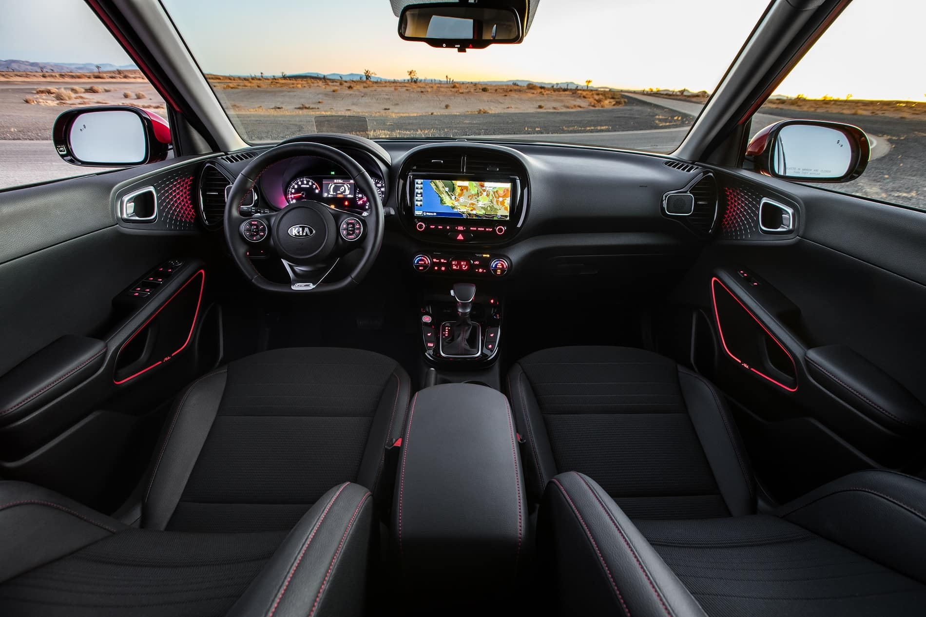 2020 Kia Soul GT Line Interior Room Front Seat Dashboard Technology Infotainment Steering Wheel at Kia of Valencia near Santa Clarita by Los Angeles Metro Area