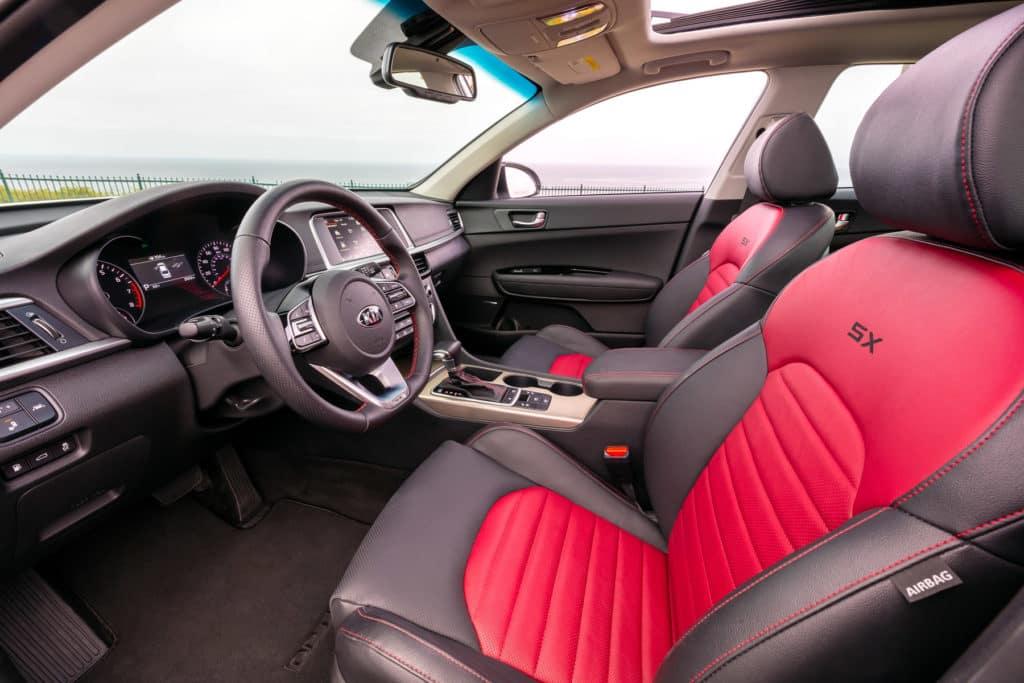 2020 KIA Optima SX Turbo Red Interior at Kia of Valencia near Kia Dealer in Santa Clarita, Ca near Los Angeles Metro Area