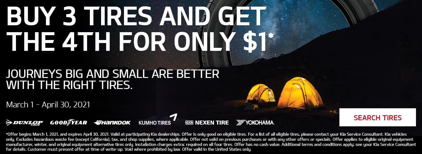 Buy 3 Tires Get 1 for $1 at Kia of Valencia near Santa Clarita, Ca