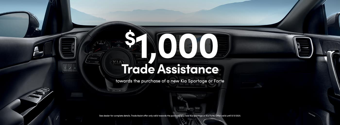 Kia Sportage, Kia Forte $1,000 Trade Assist near Santa Clarita, Ca at Kia of Valencia