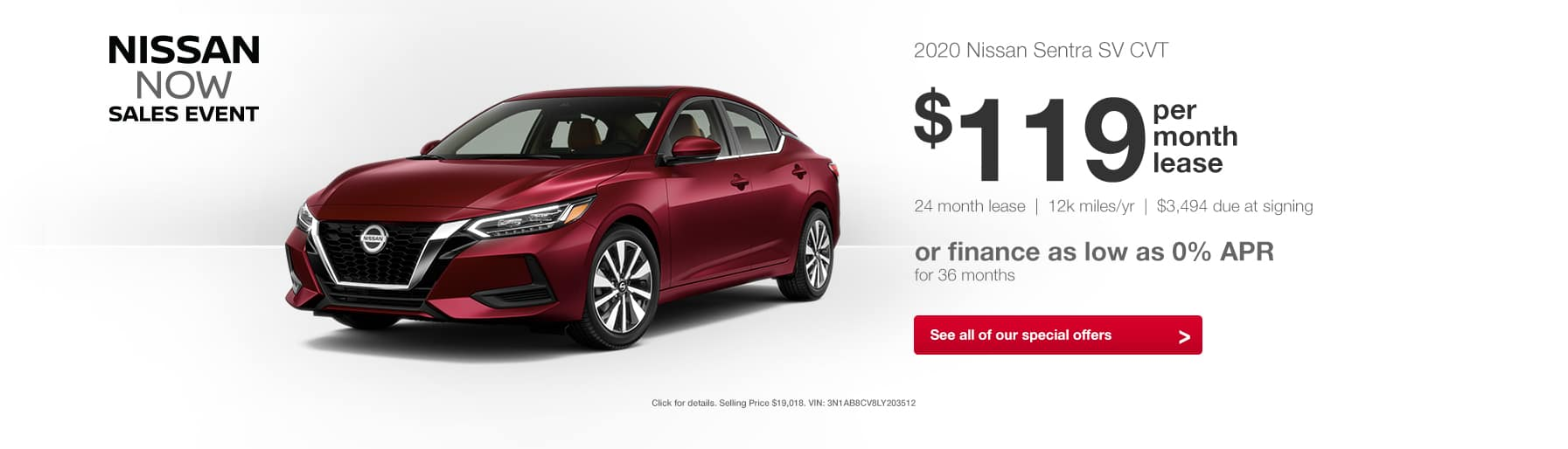 2020 Nissan Sentra Nissan Now Sales Event Lease Special