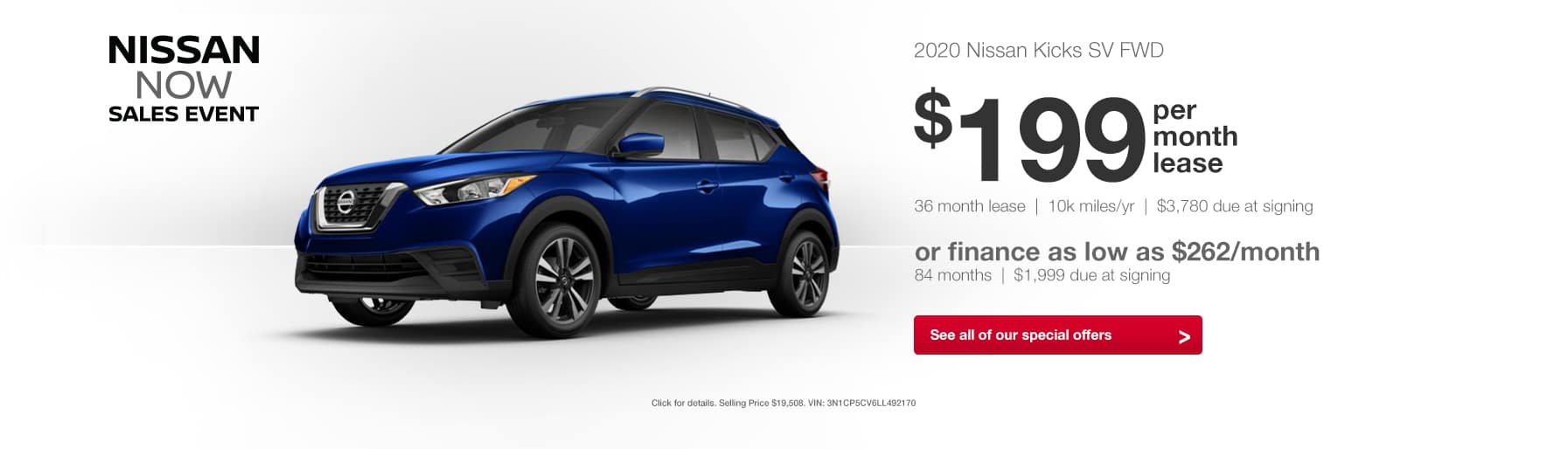 2020 Nissan Kicks Nissan Now Sales Event Lease Finance Special