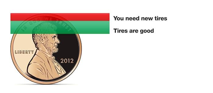 Check tires maintenance penny test at Hello Nissan of Valencia Nissan dealership near Santa Clarita, CA and Los Angeles Metro Area.