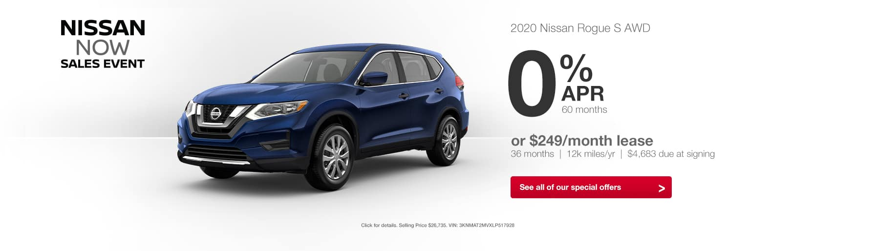 2020 Nissan Rogue Nissan Now Sales Event Lease Finance Special