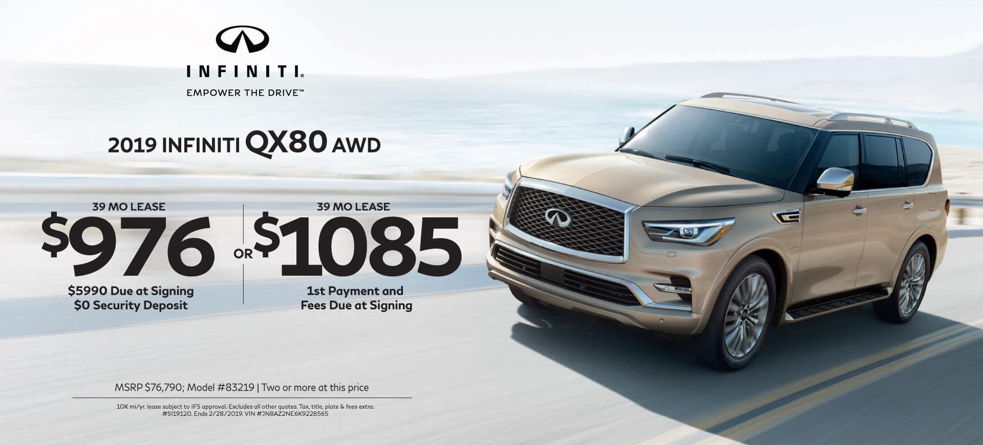 2018 INFINITI specials QX80 AWD
