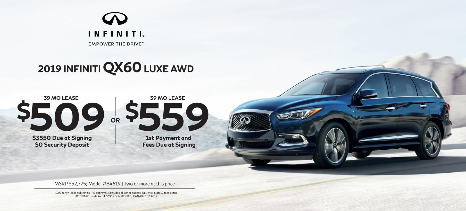2019 INFINITI Specials QX60 AWD LUXE
