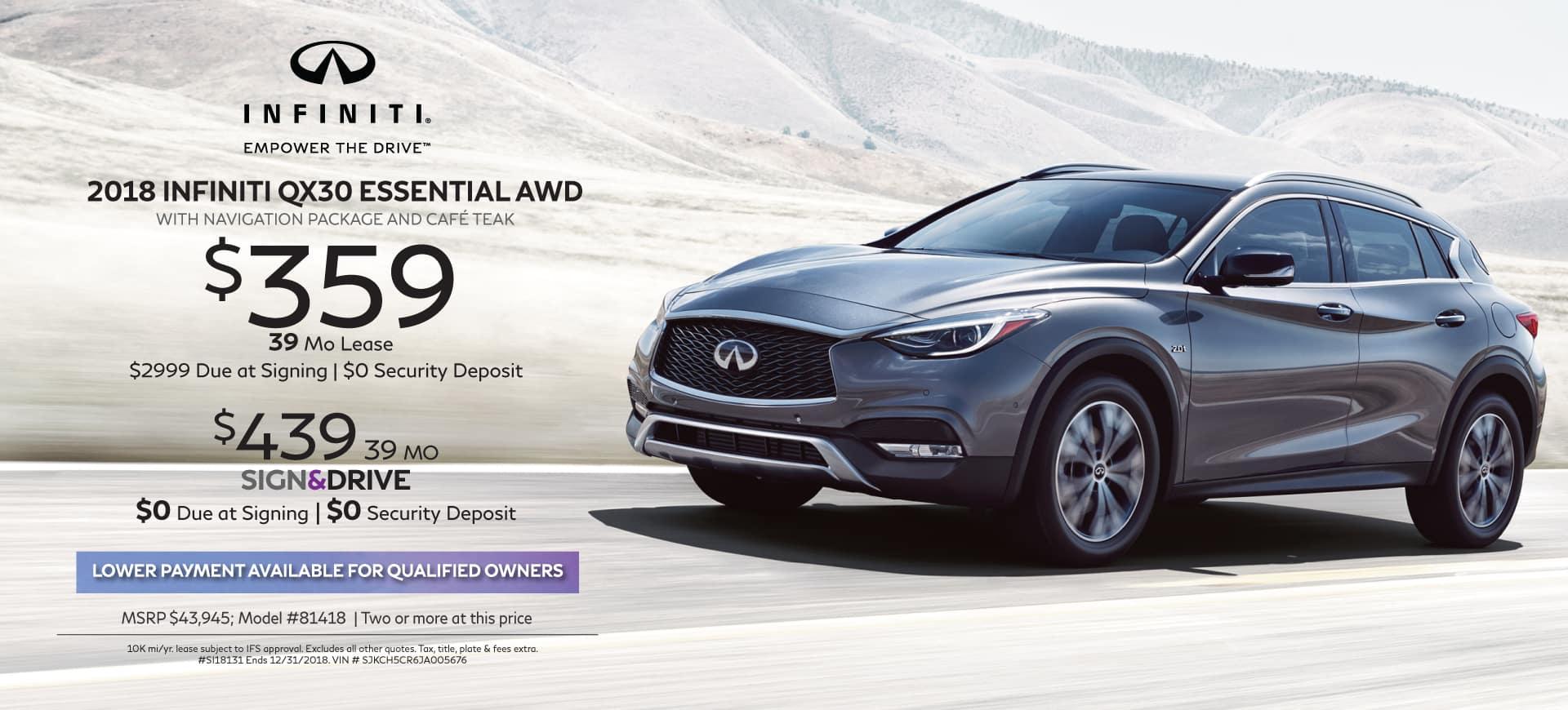 2018 INFINITI specials QX30 PREMIUM AWD