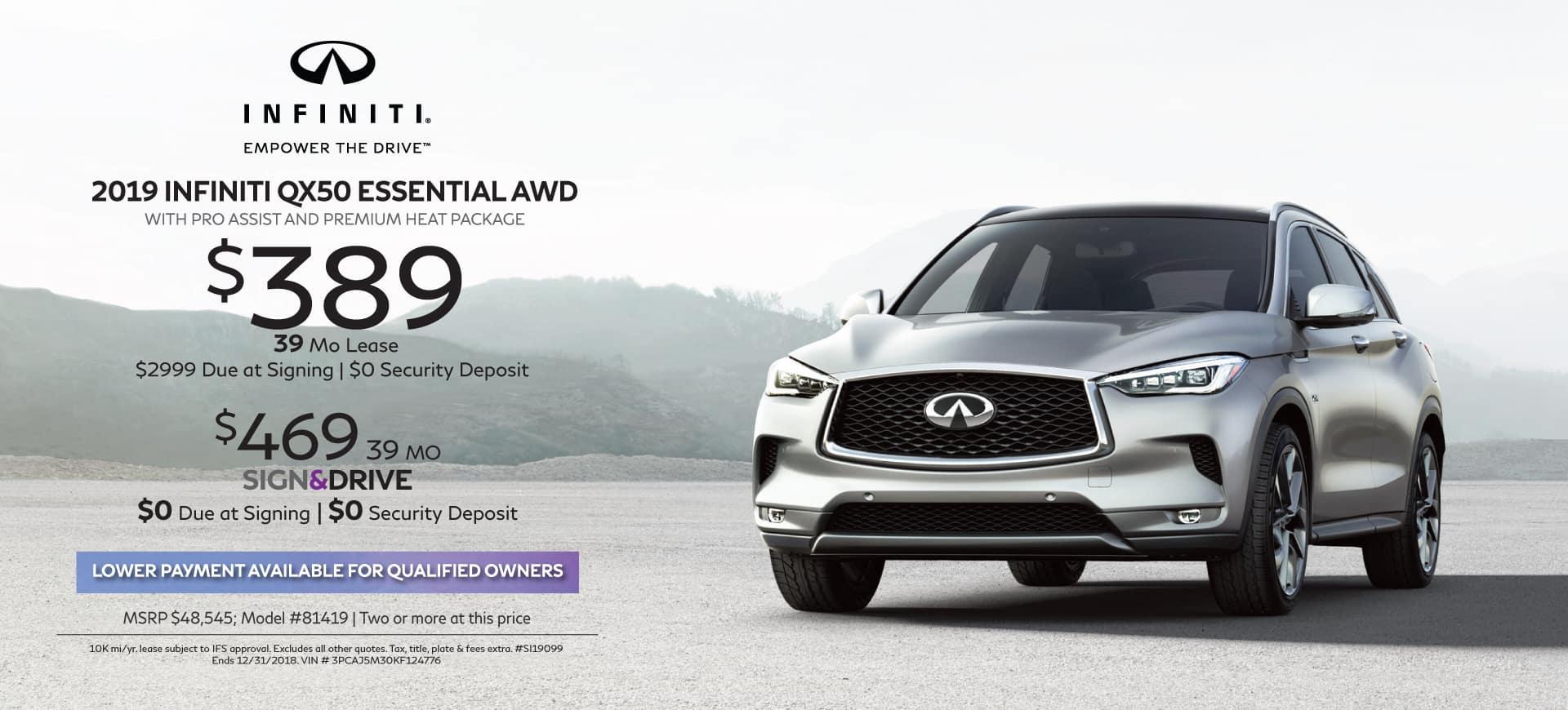 2018 INFINITI specials QX50 ESSENTIAL AWD