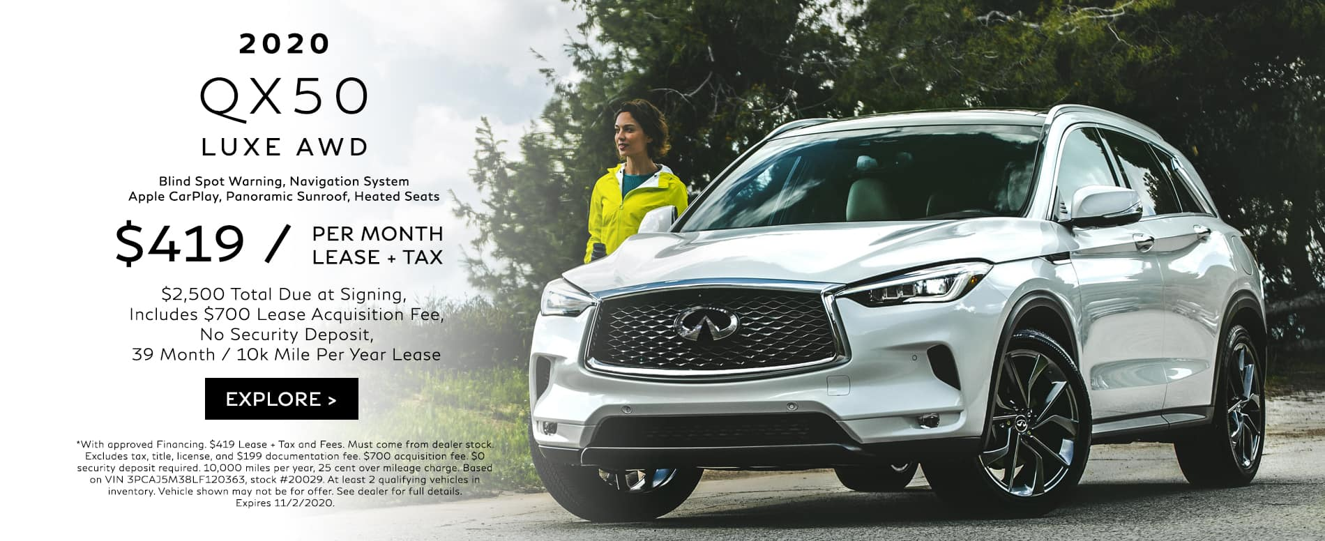 Lease a 2020 QX50 for $419/mo