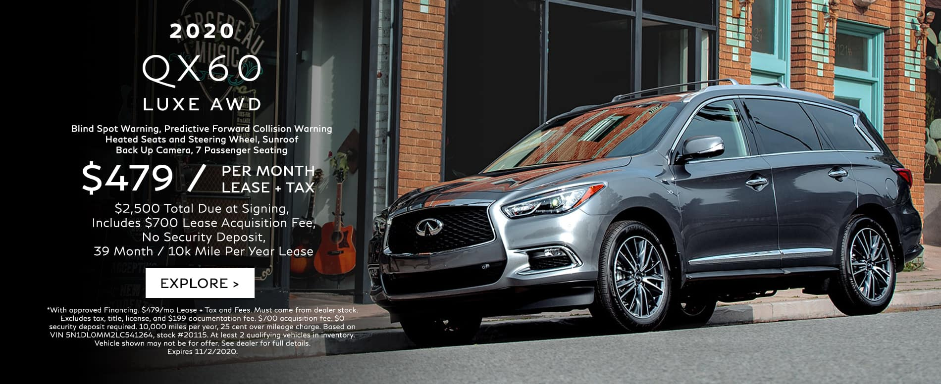 Lease a 2020 QX60 for $479/mo