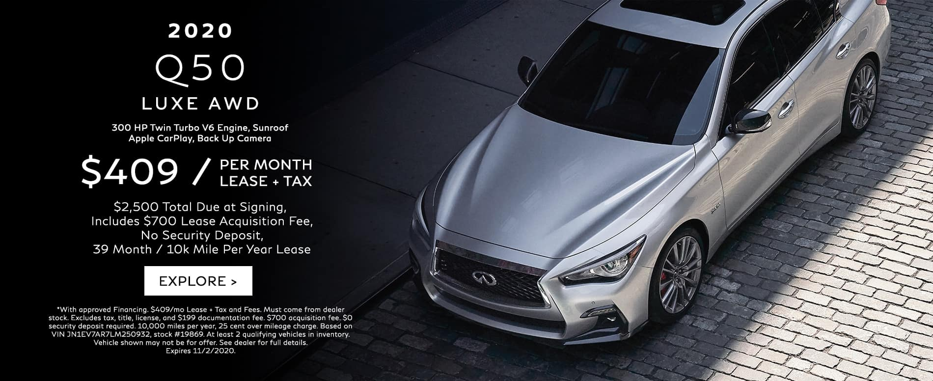 Lease a 2020 Q50 for $409/mo