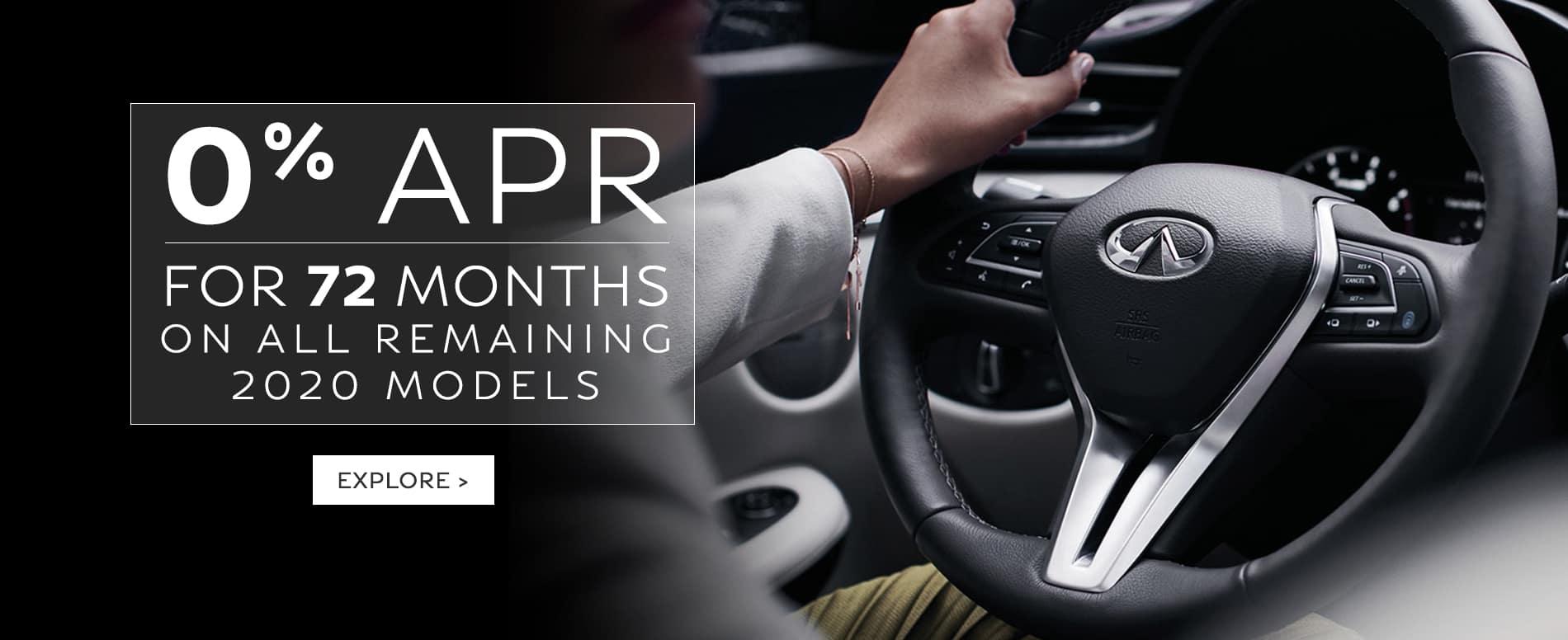 Enjoy 0% APR for 72 months on remaining 2020 Models.