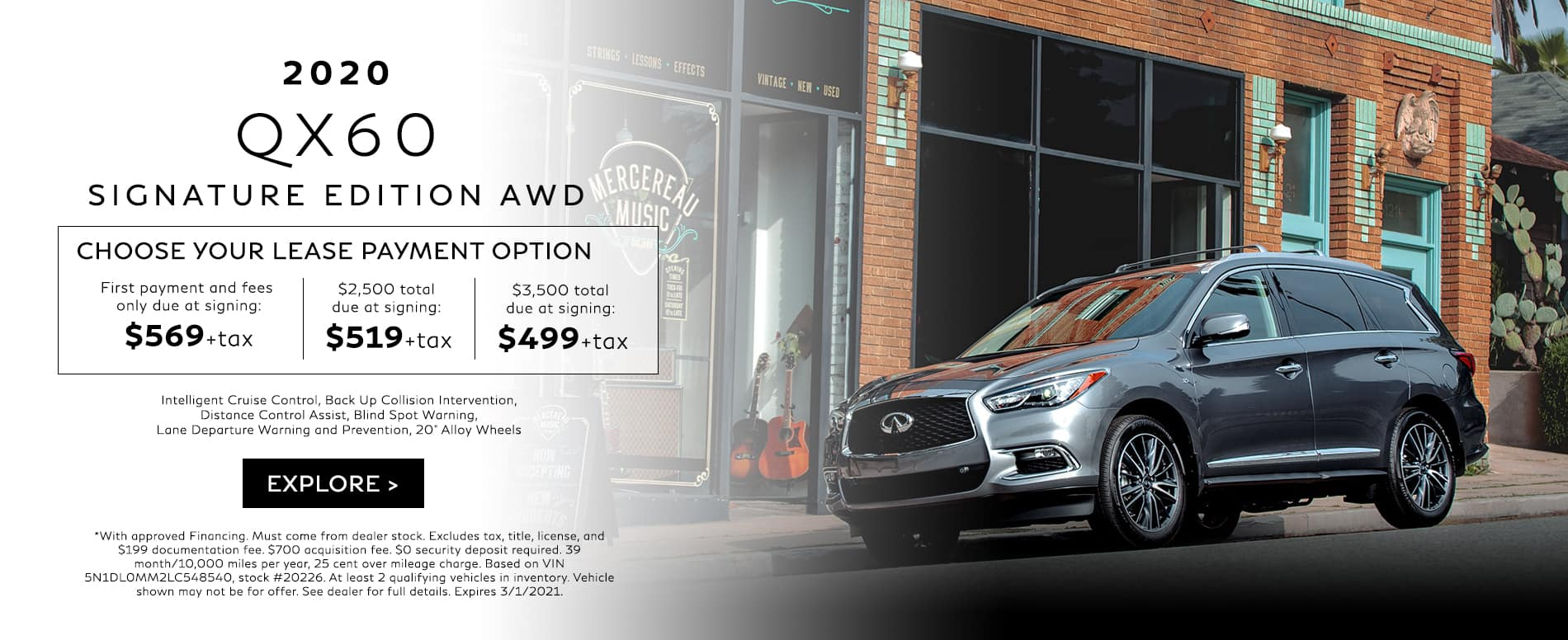 Choose your lease payment option on a new 2020 QX60 Signature Edition AWD. Hurry in today!