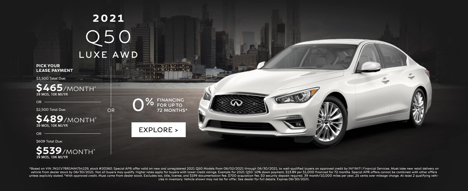 Lease a new Q50 for $465 per month. See dealer for details.