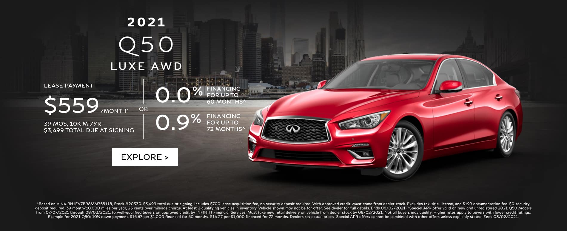 Lease a new Q50 for $559/mo. See dealer for details.