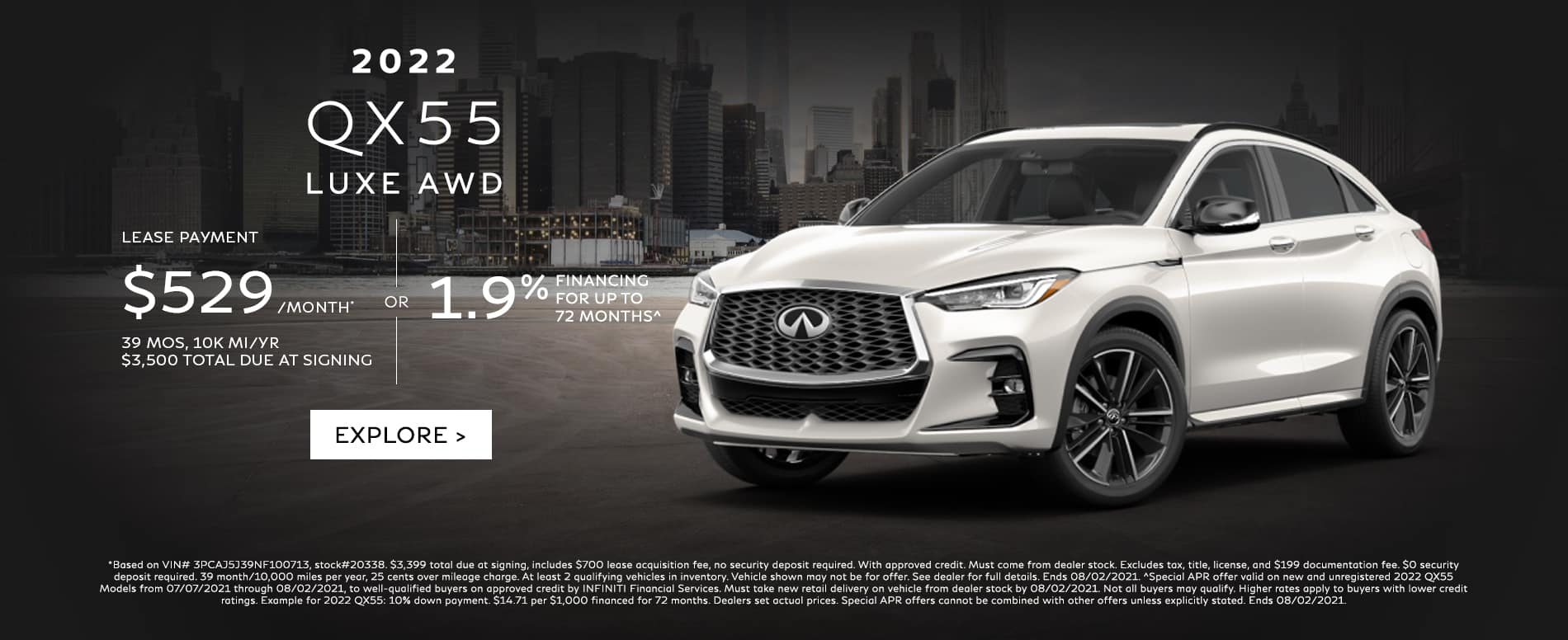 Lease a new 22 QX55 for $529/mo. See dealer for details.