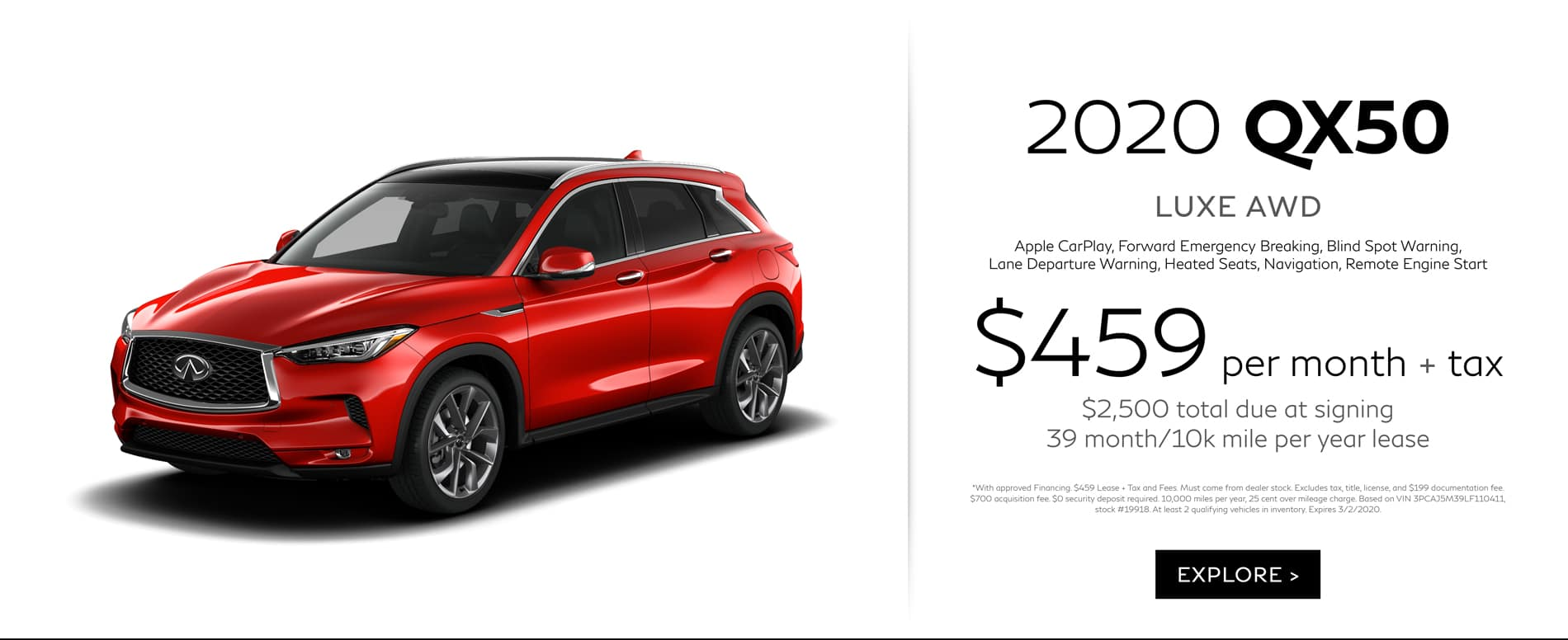 February QX50 Lease Offer $459