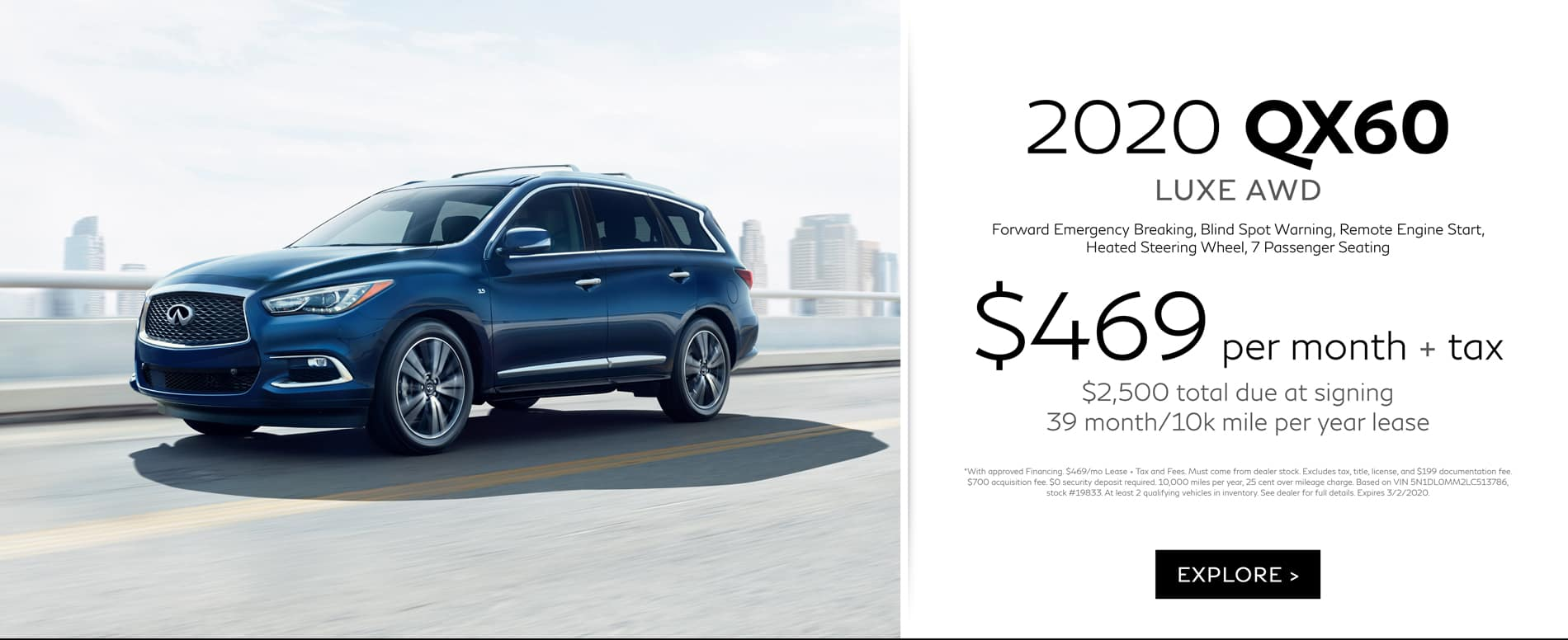 February QX60 Lease offer $469
