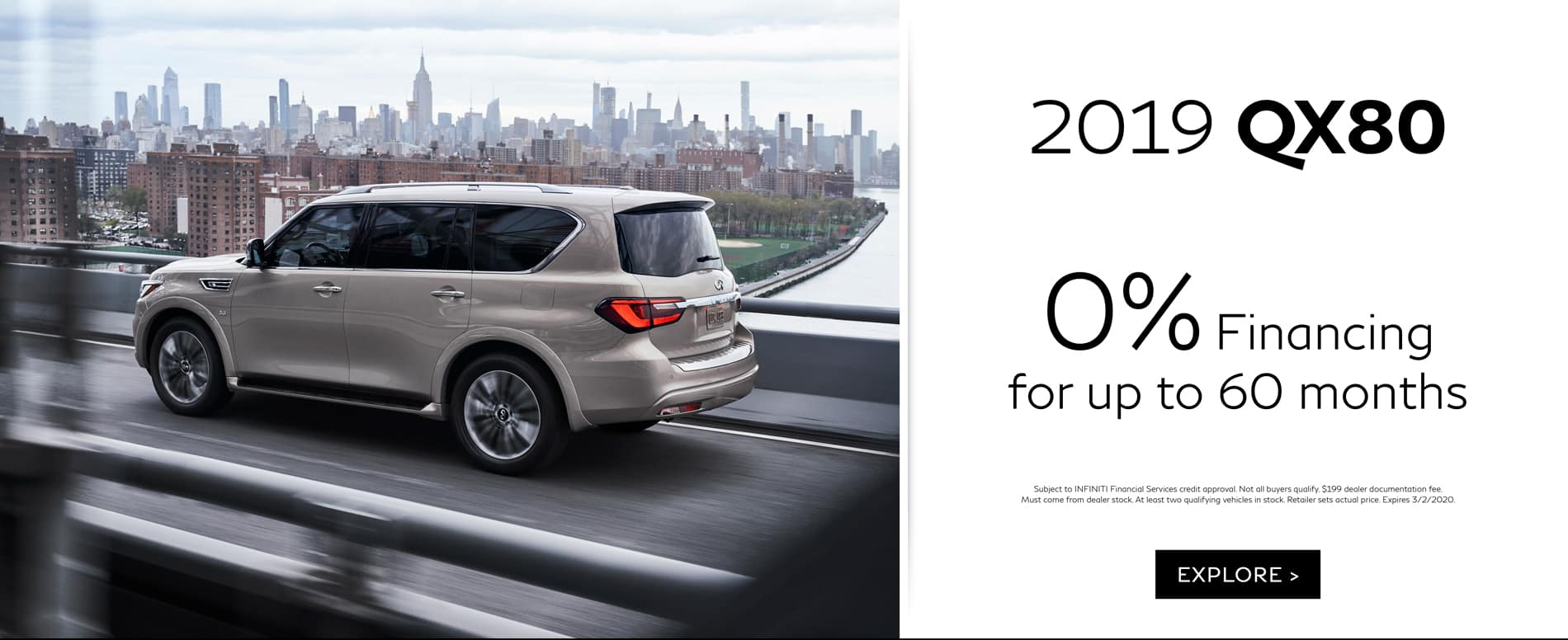 February QX80 APR Offer 0% for up to 60 months